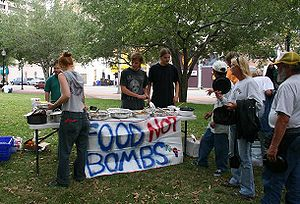 A meal being served by Food Not Bombs in Saras...