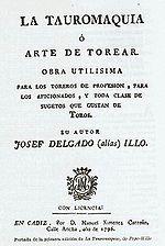 Portada de la primera edición de la Tauromaquia de Pepe Hillo (1796).