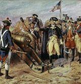 English: Washington firing the first gun at th...