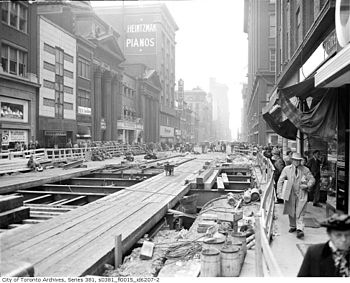 Construction on Yonge Street in 1949
