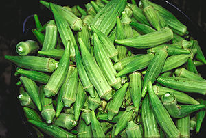 Bucket of raw Abelmoschus esculentus (okra) pods