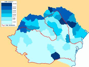 Jewish population per county in Greater Romani...
