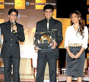 Sourav Ganguly with Shahrukh Khan and his wife...