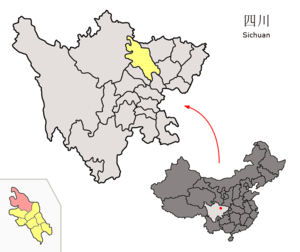 Location of Pingwu County (pink) and Mianyang ...