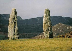 English: Penrhosfeilw Standing Stones. A Majes...