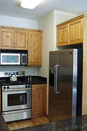 A small, modern kitchen with popular stainless...