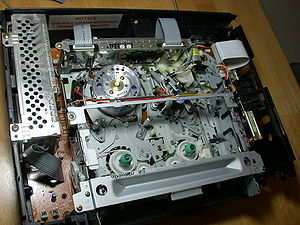The insides of a video cassette recorder or VC...