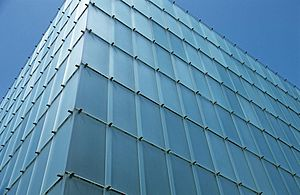 View of glass facade of Kunsthaus Bregenz