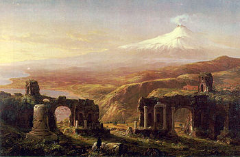 English: Mount Aetna from Taormina 1844 by Tho...