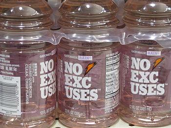 Gatorade Rain bottles lined up on a supermarke...
