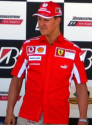 Michael Schumacher at a press conference at th...