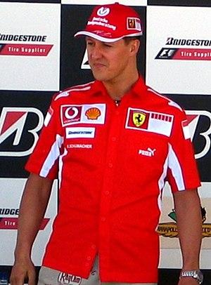 English: Michael Schumacher at a press confere...