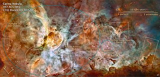 Diagram showing the position of Eta Carinae (among other objects) in the Carina nebula (NGC 3372).  Photograph by the Hubble Space Telescope.