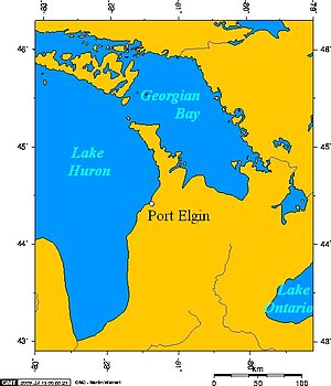 English: Map of Port_Elgin, Ontario, and Lake ...