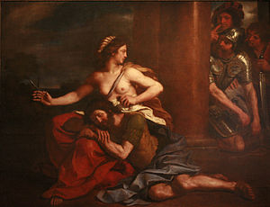 English: Samson and Delilah, Guercino, 1654, o...