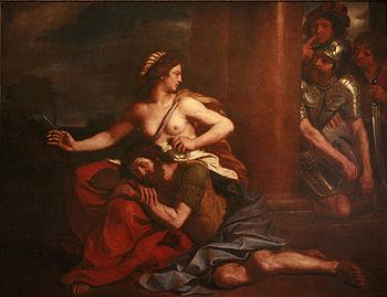 English: Samson and Delilah, Guercino, 1654, o...