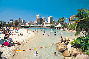 Artifical beach at Southbank, in central Brisbane.