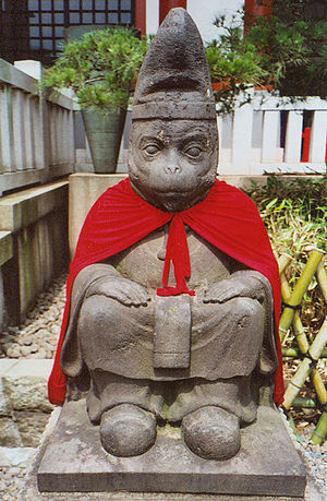 English: Simian statue at a Tokyo shrine. Phot...