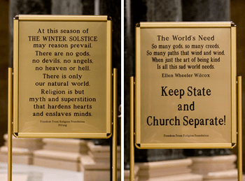 English: Front and back of the atheist sign at...