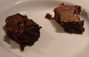 Brownies cooked following two of the Wikibooks...