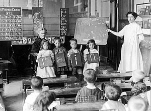 Children and their teacher at school in Chelse...