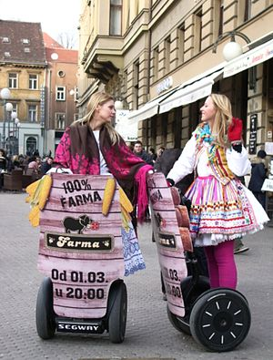 Two young women dressed in Hrvatski national c...