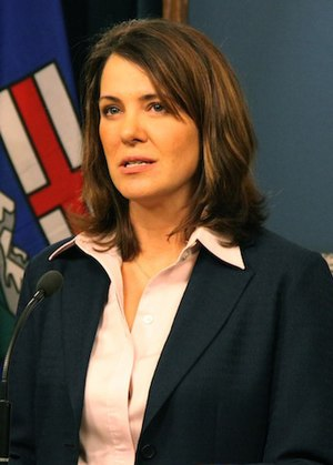 Wildrose Alliance leader Danielle Smith reacts...