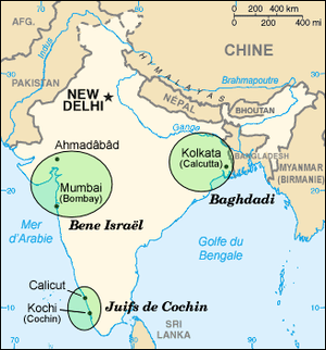 Map in French of Jewish communities in India b...