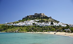 English: The village and castle (acropolis) of...