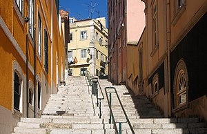 A stairway in Lisbon, Portugal, near the Palac...