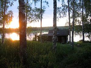 """English: A Finnish savusauna (""""smoke saun..."""