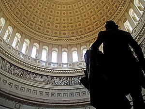 The interior of the United States Capitol rotu...