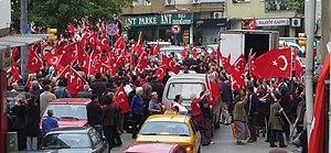 Scene from an anti-PKK demonstration in Kadıkö...