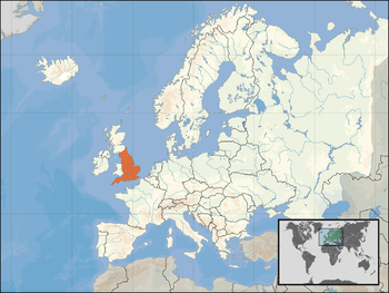 Location of England in Europe.