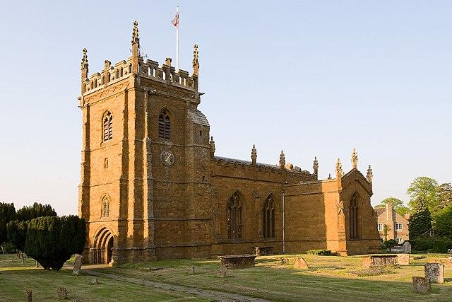 View of St Peter's Church, Kineton, Warwickshire, England.