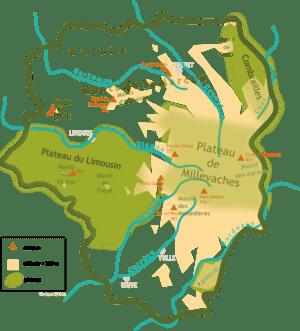 Français : Carte des monts du Limousin (France)