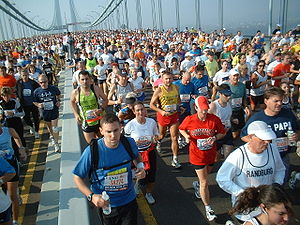 Thousands of runners on Verrazano-Narrows Bridge.
