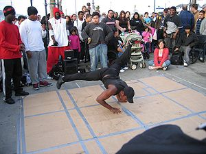 Hip hop street dancing, aka break dancing, in ...