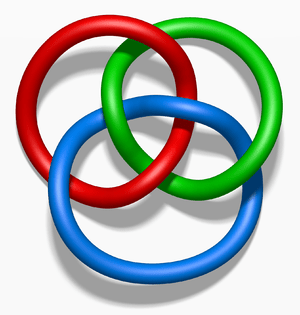 English: Borromean rings in three dimensions.