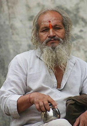 Man in Varanasi with red tilak on his forehead