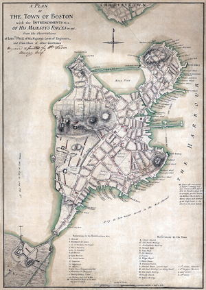 """A plan of the town of Boston with the in..."