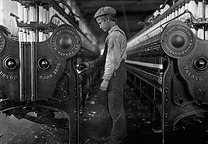 A young mill worker, unknown city in the Unite...