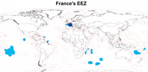 Map of France's Exclusive Economic Zone
