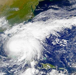 A cropped image of Hurricane Irene making land...