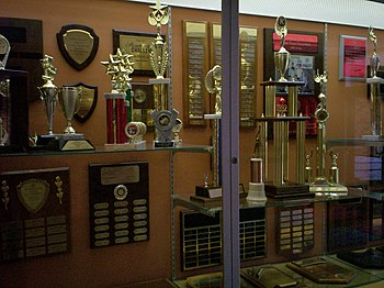 English: Trophy case at Theodore Roosevelt Hig...