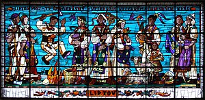 English: Stained glass in Žilina train station