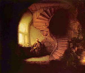 Rembrandt's Scholar in Meditation (1633) seeks...