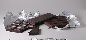 Bars of black Swiss Chocolate. From left to ri...