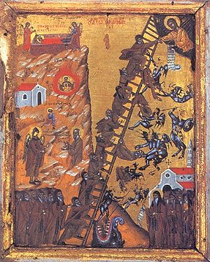 Icon of monks falling into the mouth of a drag...