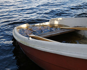 Almost sunken boat.